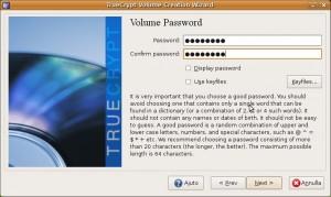 Scelta della password di cifratura